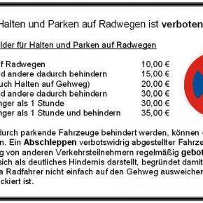 """Flyer """"Halten und Parken auf Radwegen ist verboten!"""""""