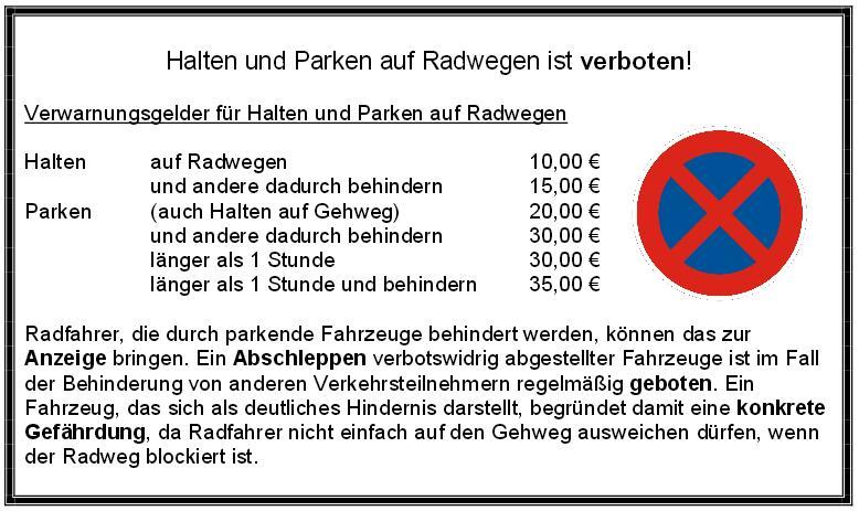 Flyer Halten und Parken auf Radwegen ist verboten