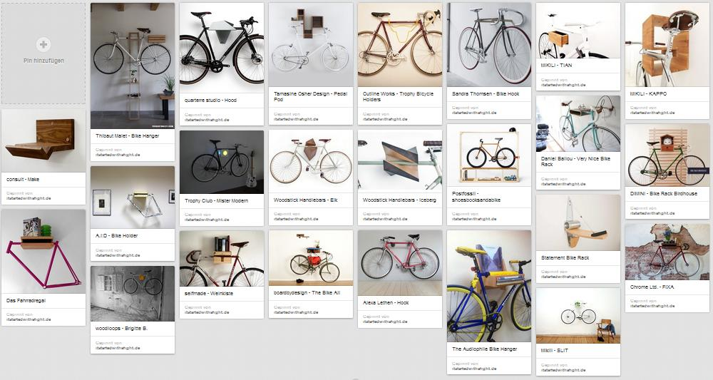 Pinterest - Fahrrad-Wandhalterungen