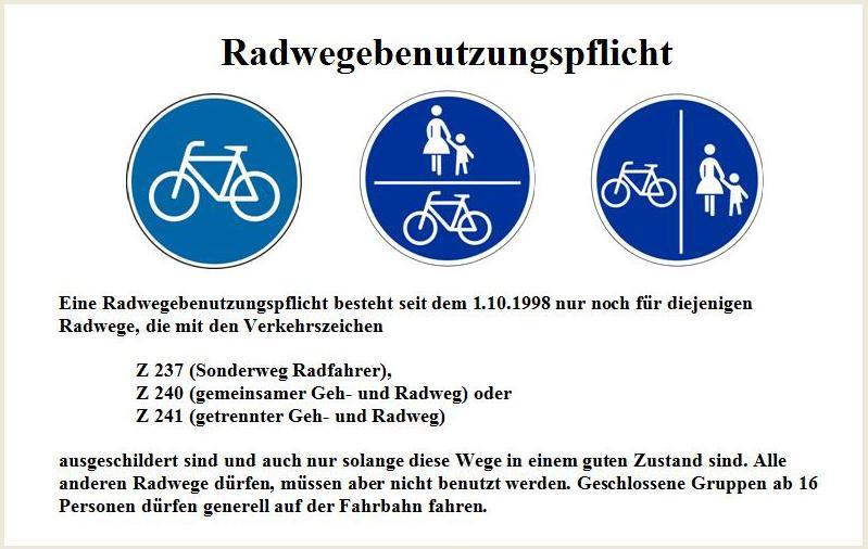 Radwegebenutzungspflicht Vorschau