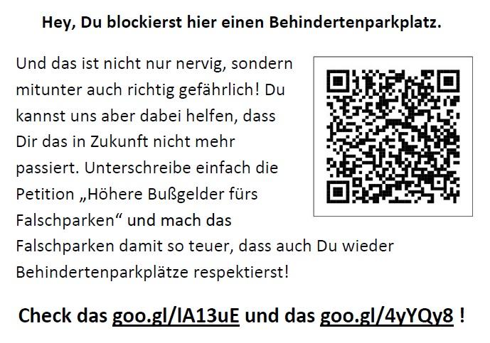 Flyer Bußgeld-Petition Behindertenparkplatz