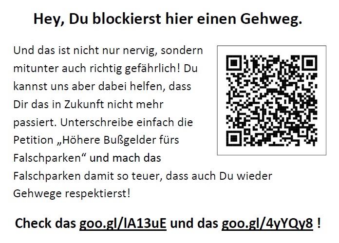 Flyer Bußgeld-Petition Gehweg