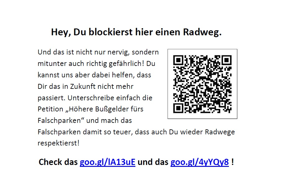 Flyer Bußgeld-Petition