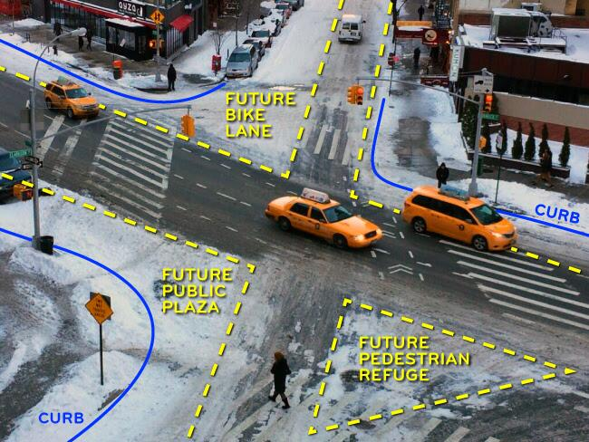 An example of sneckdowns and plowzas on a snow day in New York City. via Wikipedia; User Naparstek