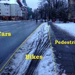 Wo Schnee ist, ist der Radweg