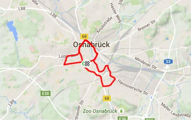 12,9 Kilometer in 1:04 Stunden - zentrumsnahe Strecke.