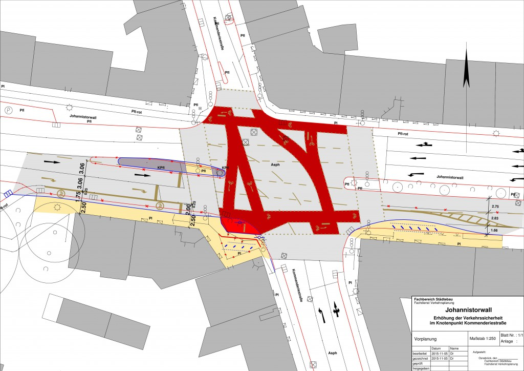 So soll die Kreuzung umgestaltet werden. Der von links kommenden Verkehr, der rechts in die Kommenderiestraße abbiegen will, soll seine eigene Spur bekommen.