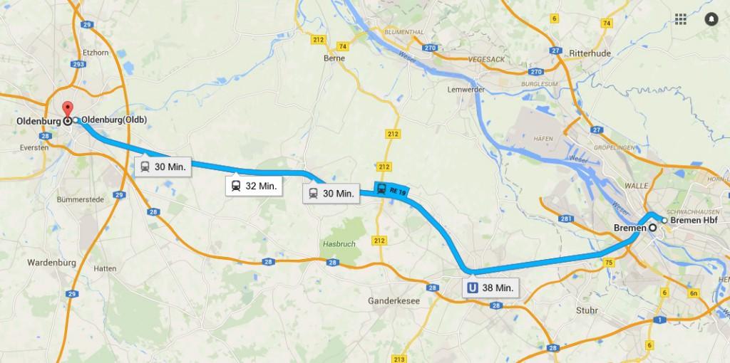 An der Bahnstrecke soll sich der Radschnellweg orientieren. Screenshot: google