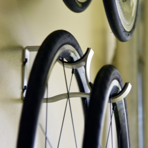 Offset-Bicycle Wheel Storage