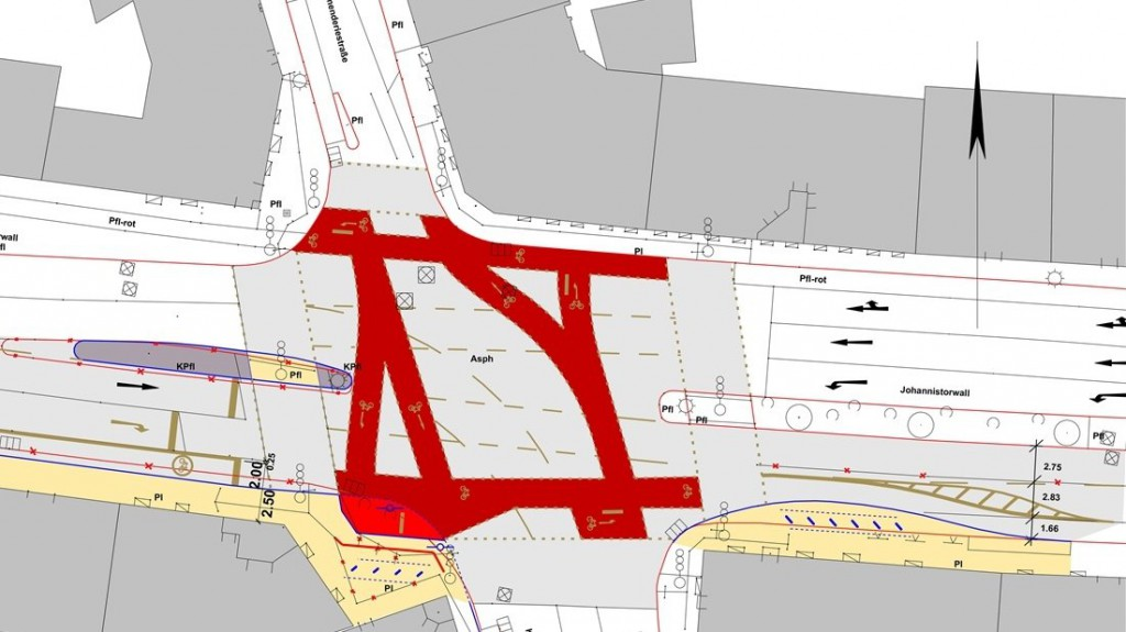 Es geht um Radfahrer, die von links geradeaus über die Kreuzung fahren wollen. An der etwas heller rot eingefärbten Stelle ist momentan noch ein Beet. Hier stehen auch die beiden Ghost Bikes, die wohl bald weg sollen. Die Fläche soll Ausweichfläche für Radfahrer werden. Nach der Umbaumaßnahme eigentlich überflüssig... Grafik: Stadt Osnabrück