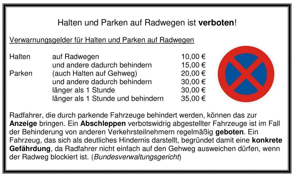Halten und Parken auf Radwegen ist verboten