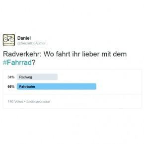 Twitter-Umfrage: Radweg oder Fahrbahn?