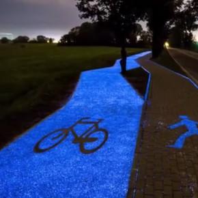 Ein leuchtender Radweg